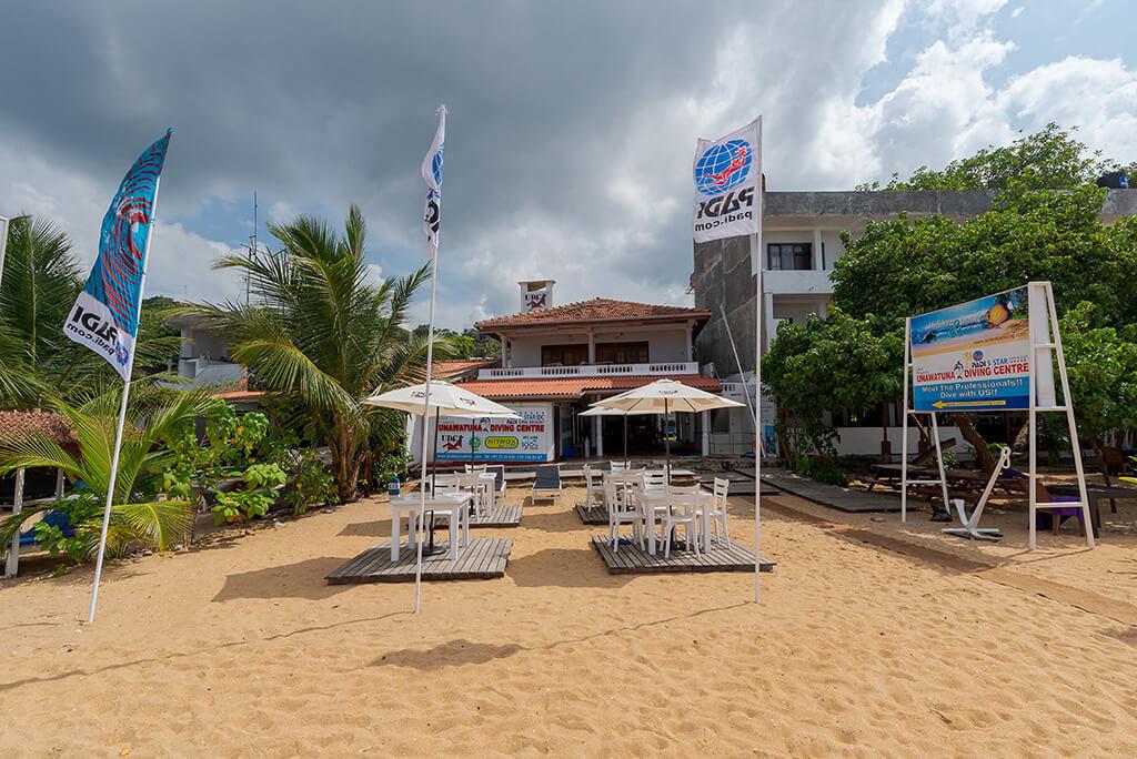 Our Unawatuna diving centre known as Divinguru Unawatuna, located directly on Unawatuna Beach