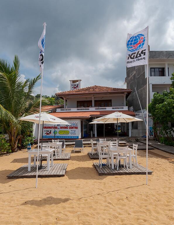 Beach side of our diving centre in Unawatuna, Sri Lanka