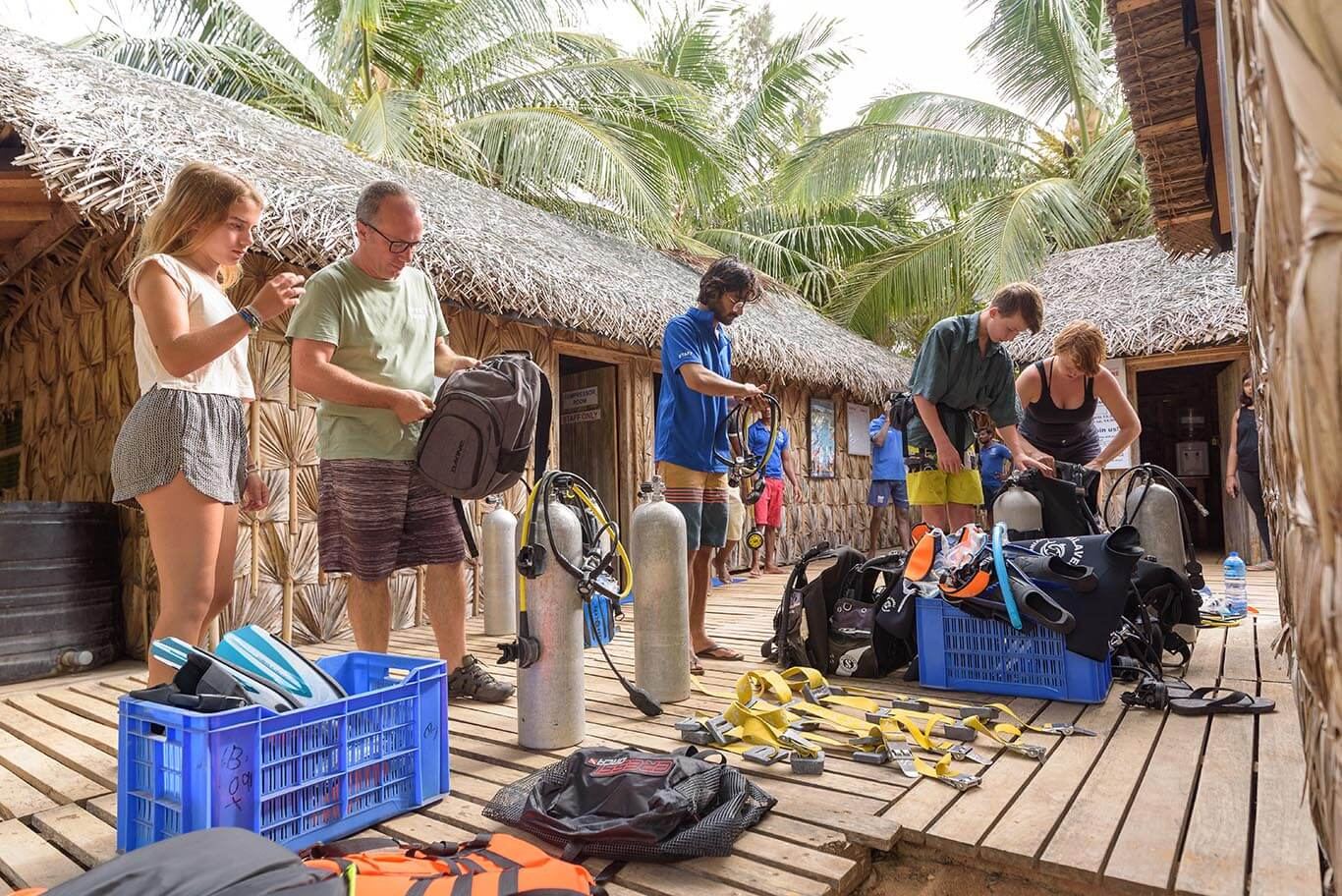 equipment preparation before diving with your Divemaster or PADI Instructor in our Divinguru dive resort in Nilaveli